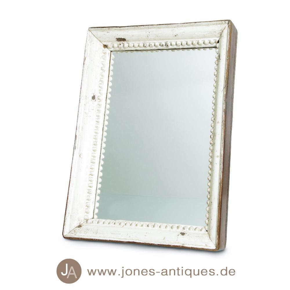 Antiker spiegel mit dickem altem holzrahmen in wei - Alter spiegel mit holzrahmen ...