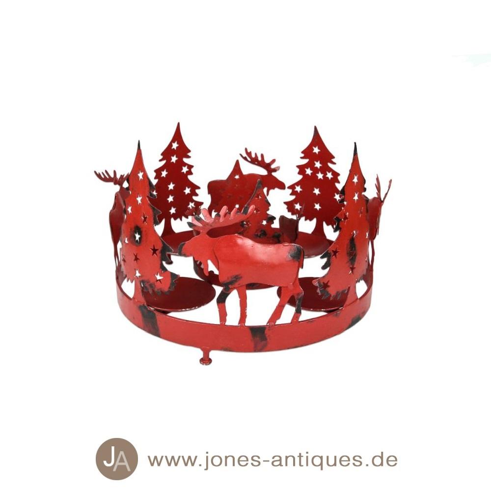 adventskranz aus metall in der farbe rot. Black Bedroom Furniture Sets. Home Design Ideas